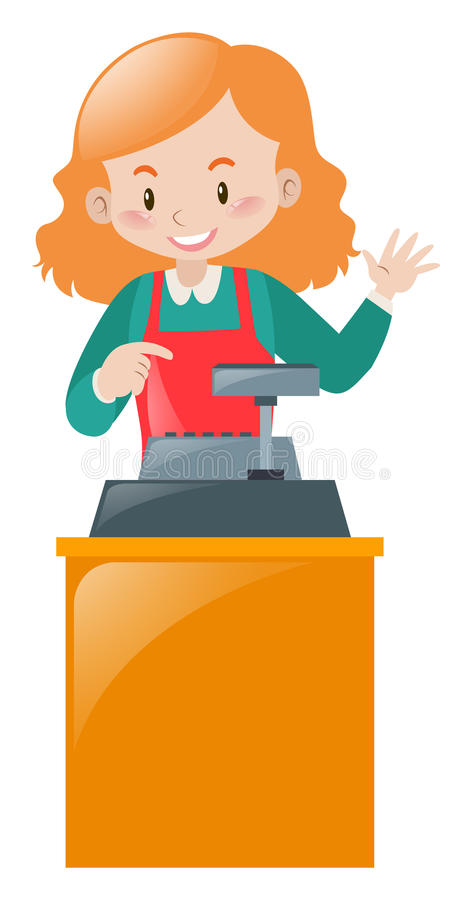 Caixeiro fêmea que trabalha na mesa ilustração stock