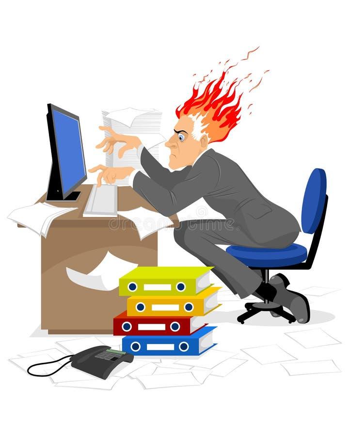 Caixeiro que queima-se no trabalho ilustração royalty free