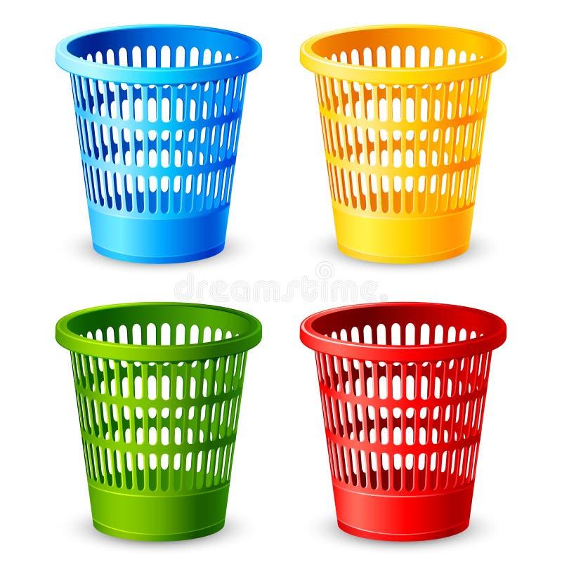 Caixote de lixo colorido ilustração stock