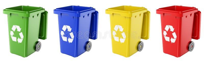caixotes de lixo 3D de várias cores ilustração royalty free
