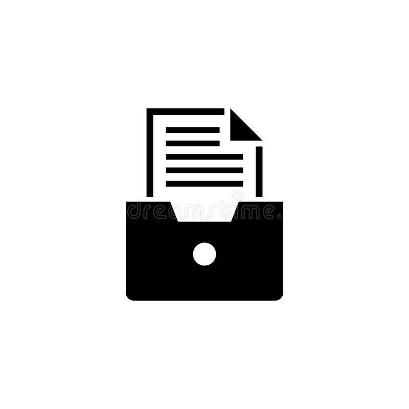 Cajón de fichero, icono plano del vector del documento del archivo stock de ilustración