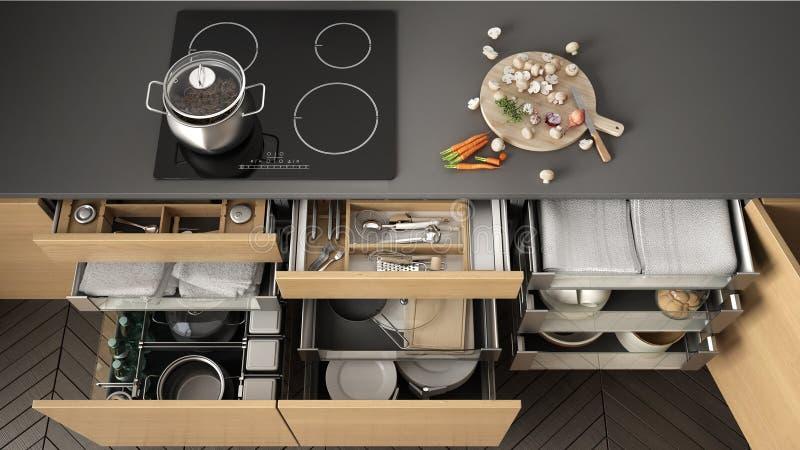 Cajón de madera abierto de la cocina con los accesorios dentro, solución f ilustración del vector