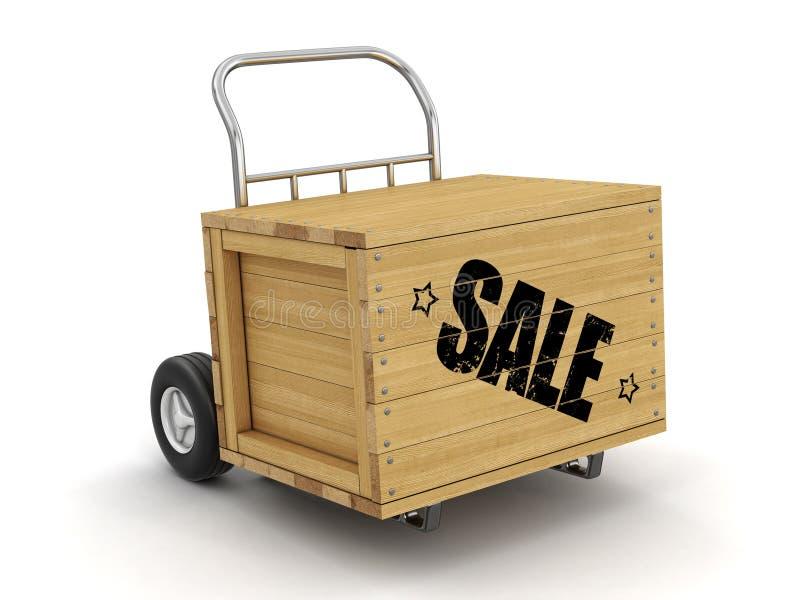 Cajón de madera con el camión de la venta a mano Imagen con la trayectoria de recortes libre illustration