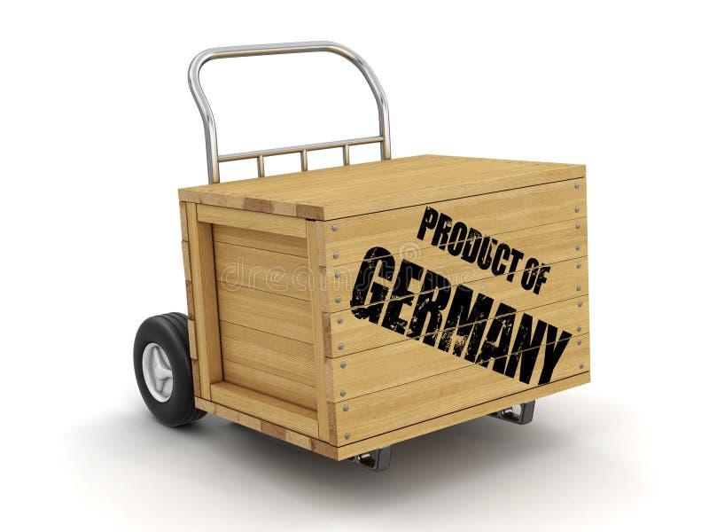 Cajón de madera con el producto del camión de Alemania a mano Imagen con la trayectoria de recortes ilustración del vector