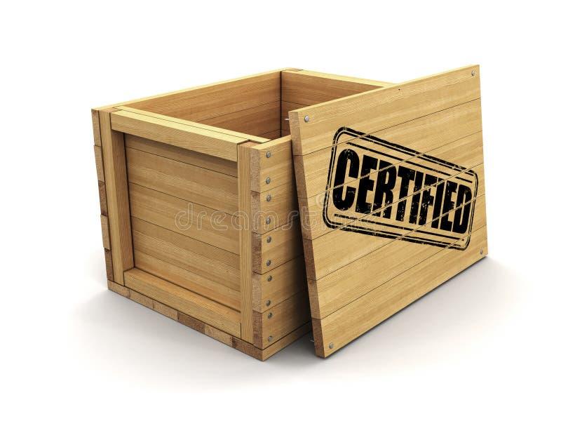 Cajón de madera con el sello certificado Imagen con la trayectoria de recortes stock de ilustración