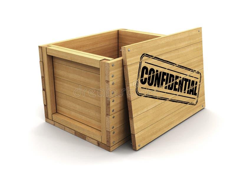 Cajón de madera con el sello confidencial Imagen con la trayectoria de recortes stock de ilustración