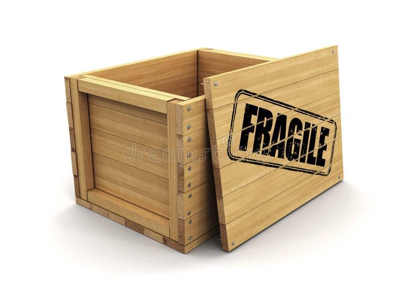 Cajón de madera con el sello frágil Imagen con la trayectoria de recortes ilustración del vector