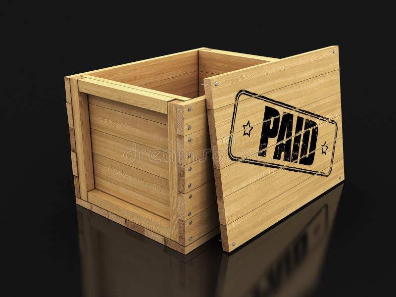 Cajón de madera con el sello pagado Imagen con la trayectoria de recortes stock de ilustración