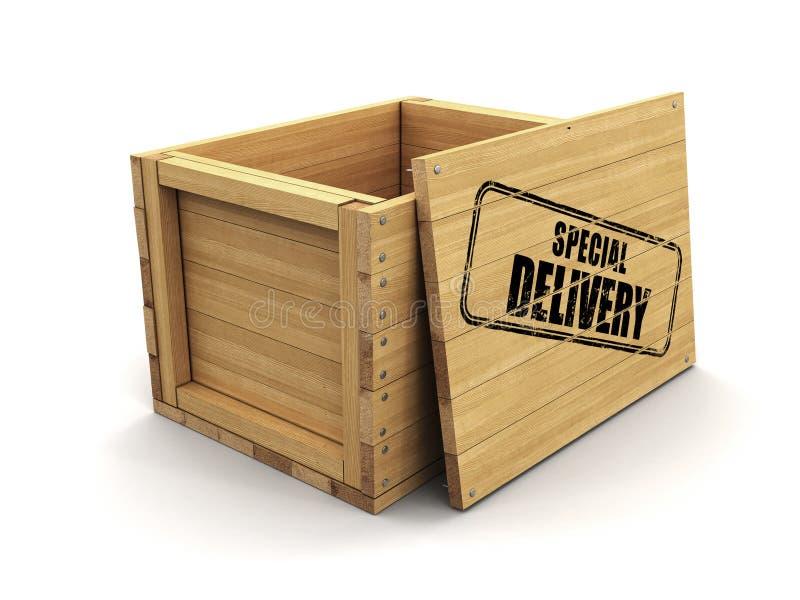 Cajón de madera con entrega especial del sello Imagen con la trayectoria de recortes ilustración del vector