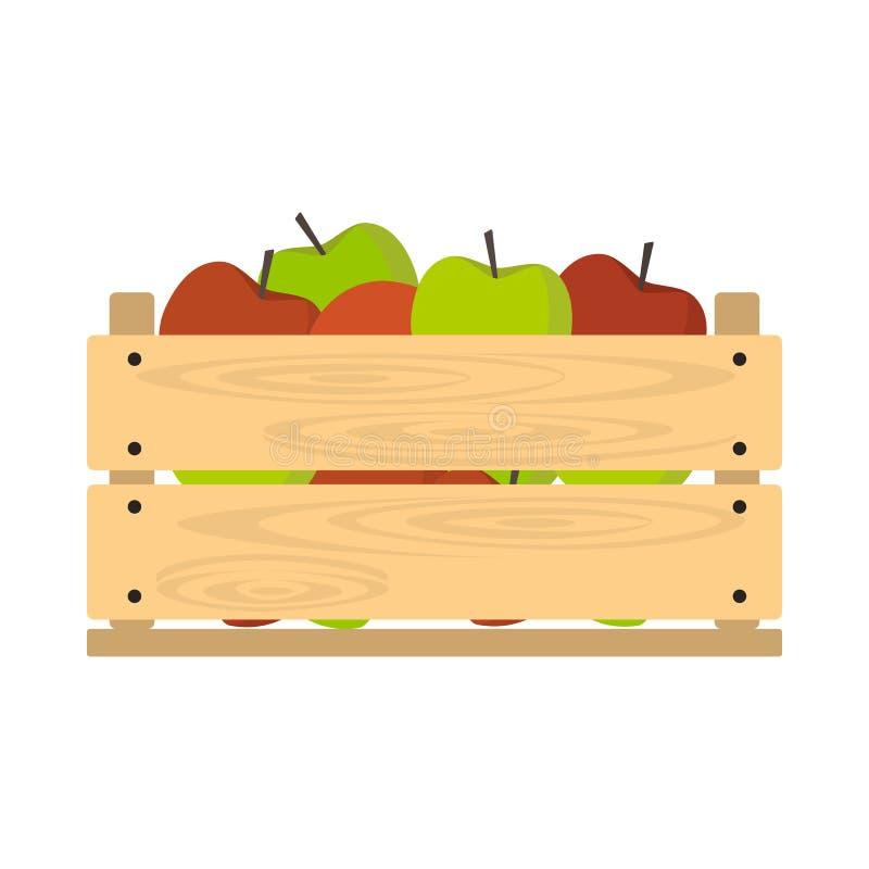 Cajón de madera con las manzanas ilustración del vector