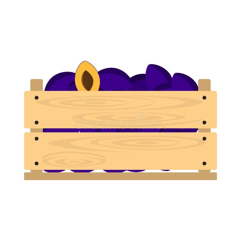 Cajón de madera con los ciruelos stock de ilustración