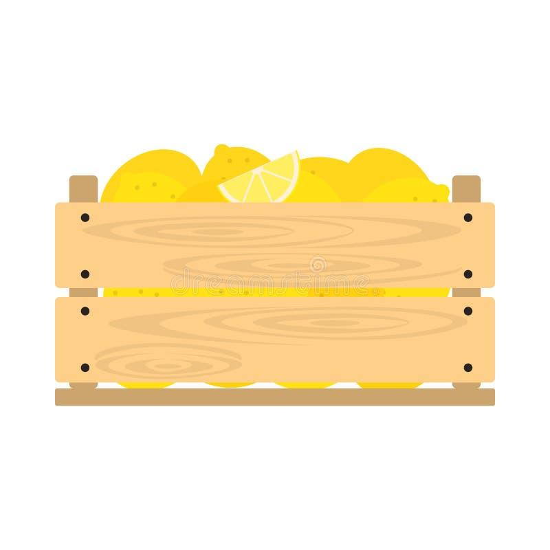 Cajón de madera con los limones stock de ilustración