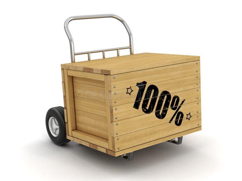 Cajón de madera con 100% a mano camiones Imagen con la trayectoria de recortes stock de ilustración
