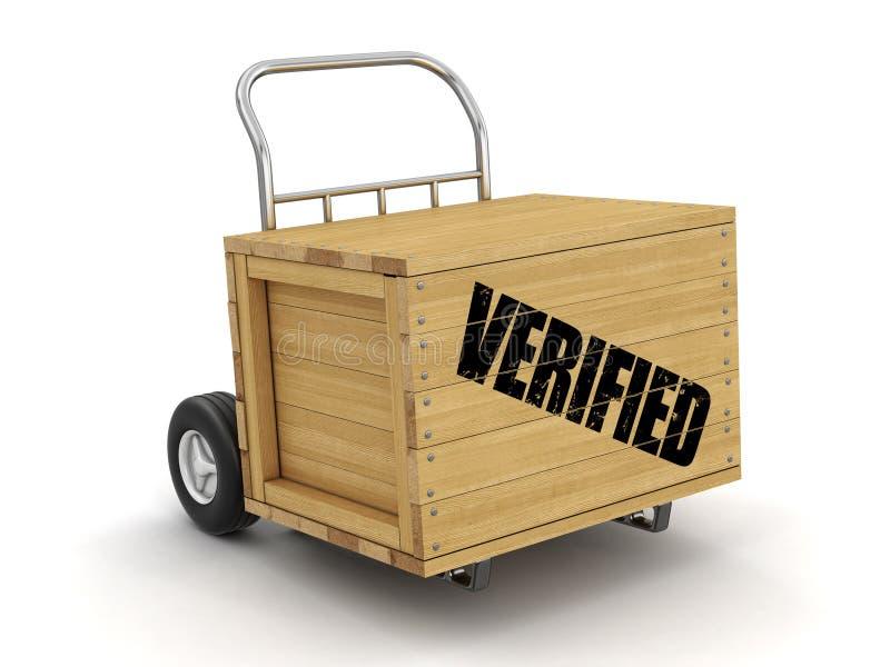 Cajón de madera con a mano el camión verificado Imagen con la trayectoria de recortes stock de ilustración