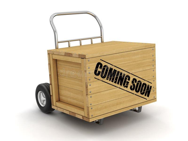 Cajón de madera con venir pronto a mano camión Imagen con la trayectoria de recortes stock de ilustración