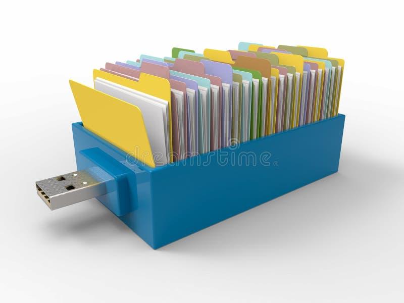 Cajón del USB de memoria USB de las carpetas stock de ilustración