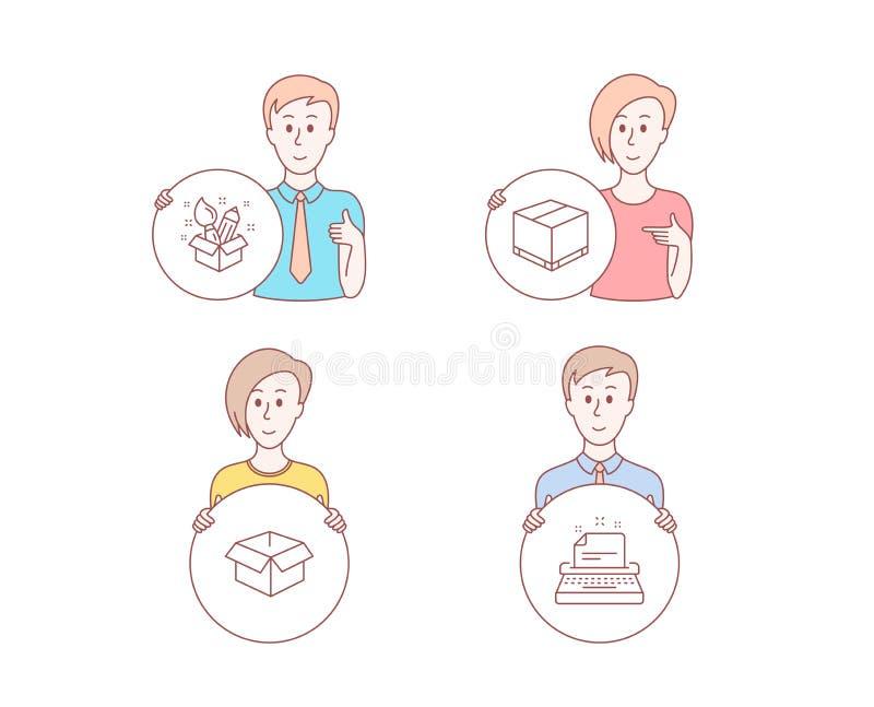 Caja abierta, caja de la entrega e iconos de la creatividad Muestra de la máquina de escribir Paquete del envío, paquete del carg libre illustration