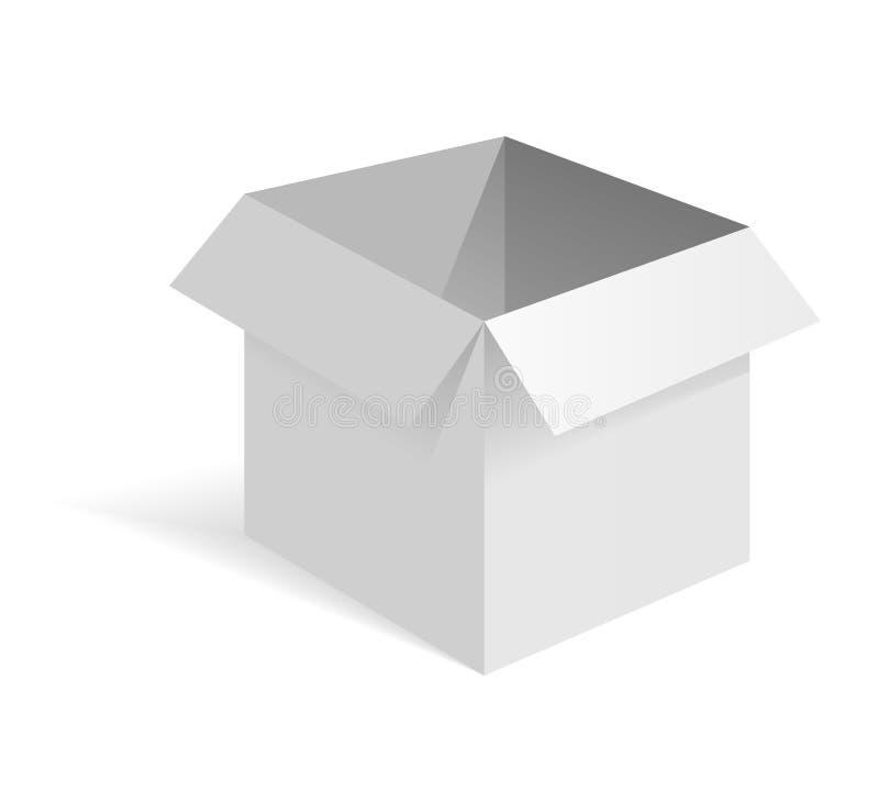 Caja abierta del Libro Blanco Maqueta blanca Vista lateral Ejemplo isom?trico del vector 3d aislado en el fondo blanco ilustración del vector