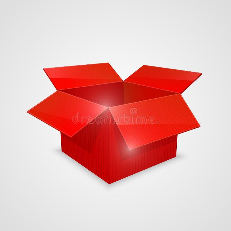 Caja abierta del vector del color Rojo stock de ilustración
