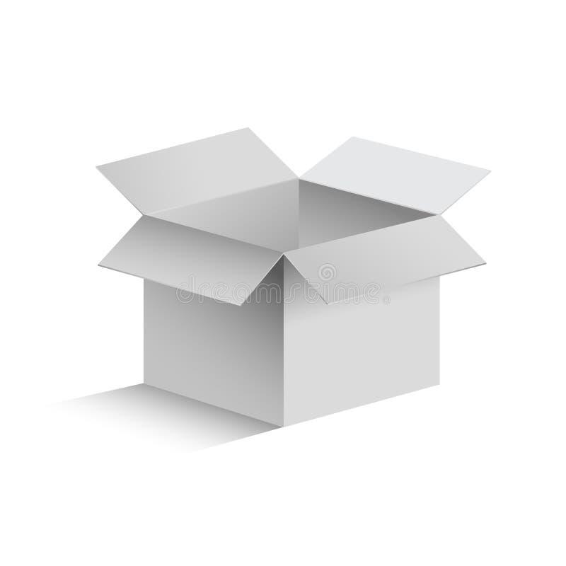 caja abierta gris realista 3D ilustración del vector
