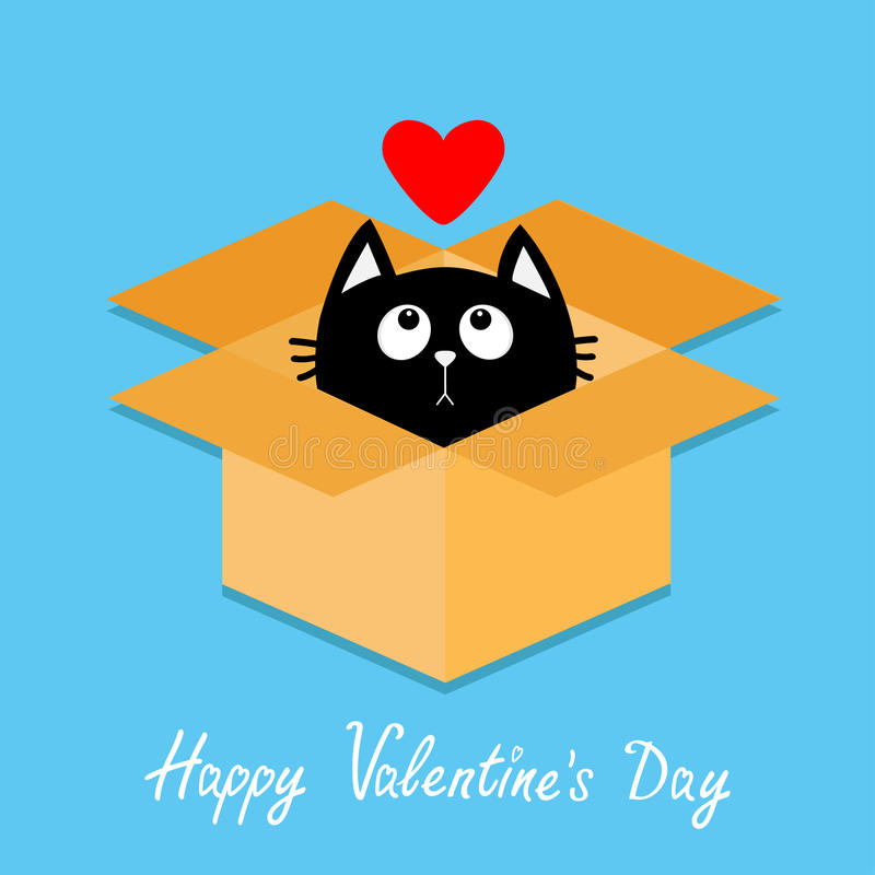 Caja abierta interior del paquete de la cartulina del gato Gatito que mira para arriba al corazón rojo Estilo plano feliz del dis ilustración del vector