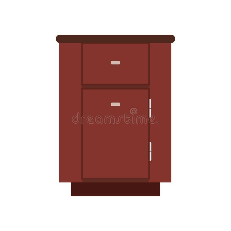 Caja aislada equipo del apartamento del gabinete Vector de madera contemporáneo del icono del desván simple interior del vintage stock de ilustración