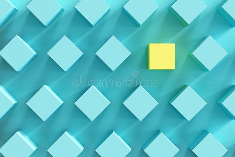 Caja amarilla entre las cajas azules en fondo azul claro ilustración del vector