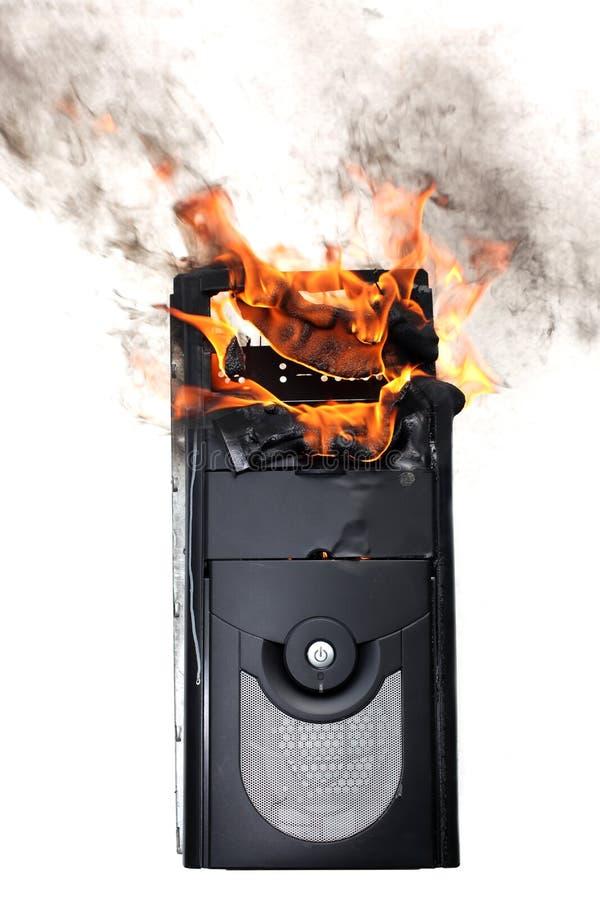 Caja ardiente del ordenador imagen de archivo libre de regalías