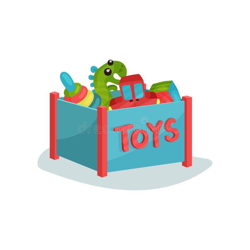 Caja azul por completo de juguetes para los niños o los niños preescolares Pirámide colorida, dinosaurio verde, cubo y coche rojo stock de ilustración