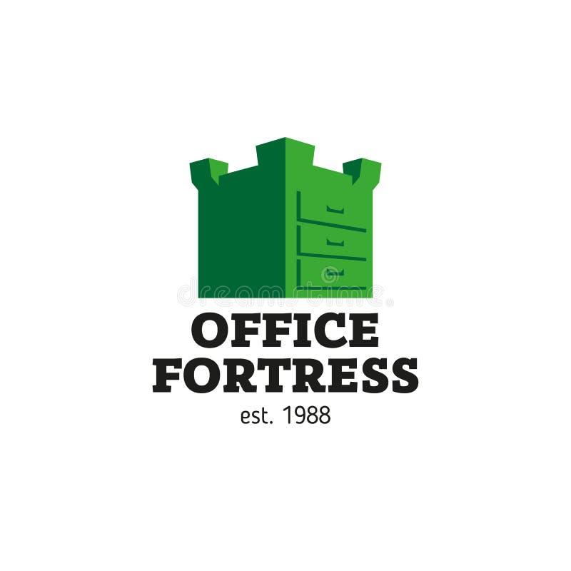 Caja bajo la forma de fortaleza, seguridad de la oficina del logotipo de datos ilustración del vector
