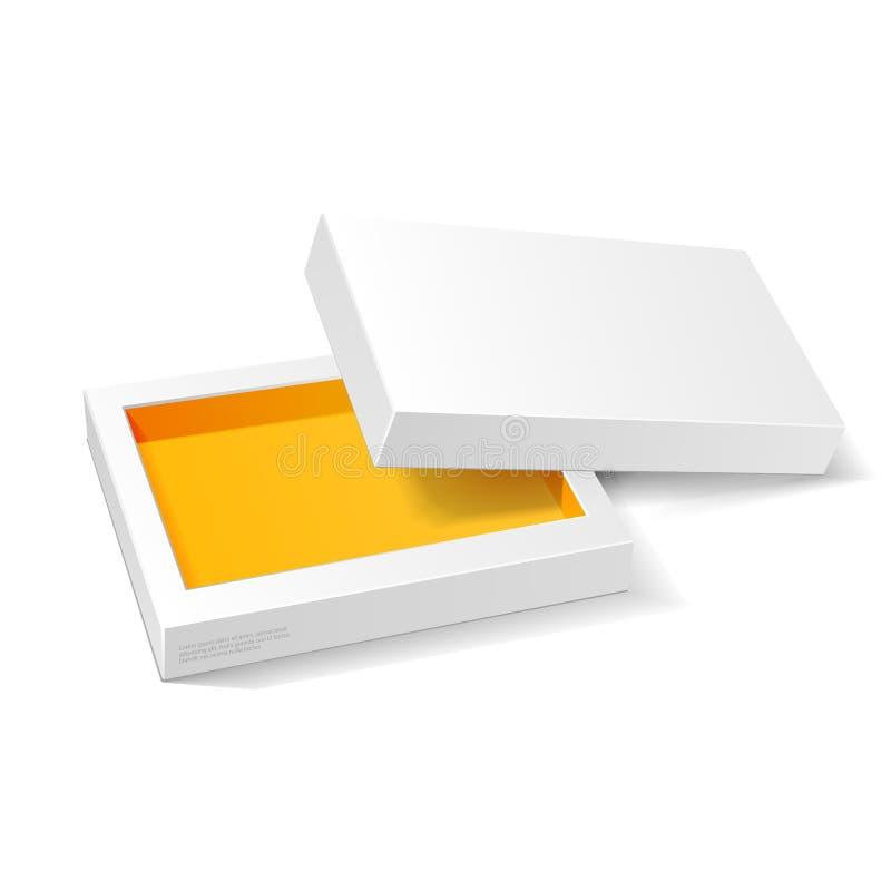 Caja blanca abierta del paquete de la cartulina del amarillo anaranjado Caramelo del regalo En el fondo blanco Aliste para su dis libre illustration