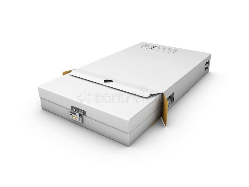 Caja blanca bloqueada del paquete blanco aislado ejemplo 3d libre illustration