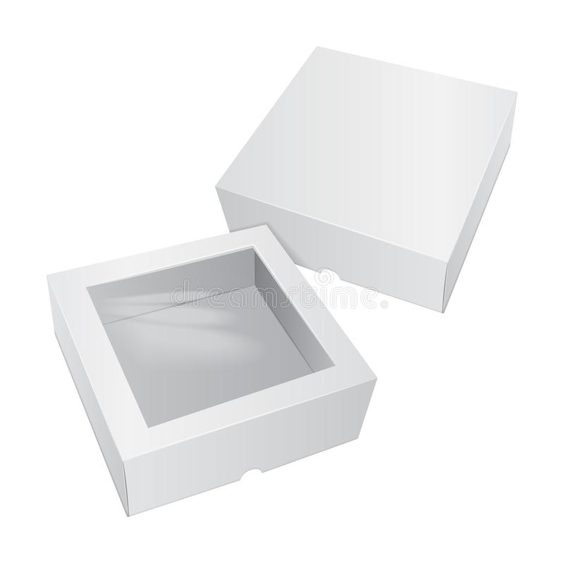 Caja blanca de la torta de la cartulina Para los alimentos de preparación rápida, el regalo, el etc Carry Packaging Plantilla del ilustración del vector