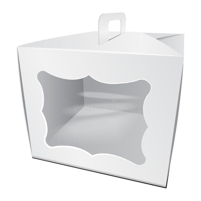 Caja blanca de la torta de la cartulina Para los alimentos de preparación rápida, el regalo, el etc Carry Packaging Plantilla del libre illustration