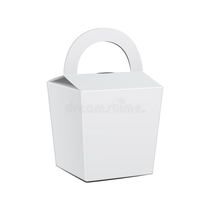 Caja blanca de la torta de la cartulina Para los alimentos de preparación rápida, regalo Plantilla de la maqueta del vector del p stock de ilustración
