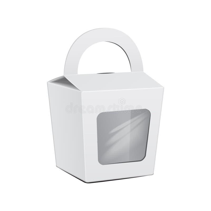 Caja blanca de la torta Para los alimentos de preparación rápida, regalo Plantilla de la maqueta del vector del paquete Carry Car ilustración del vector