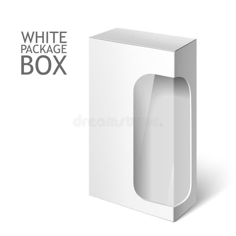 Caja blanca del paquete con la ventana Plantilla de la maqueta stock de ilustración