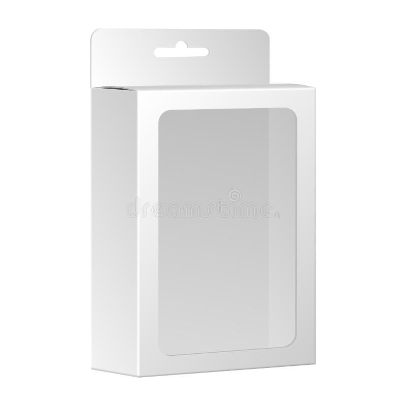 Caja blanca en blanco del paquete del producto con la ventana. Vector libre illustration