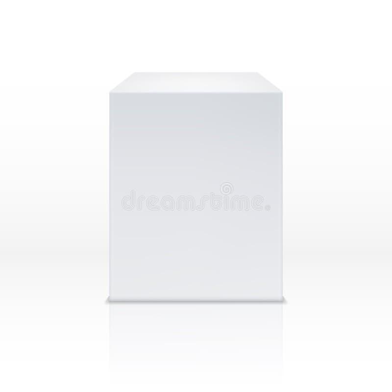 Caja blanca realista del cubo, 3d podio, ejemplo en blanco del vector del pedestal stock de ilustración