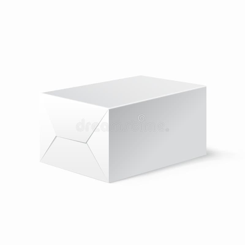 Caja bloqueada blanca realista Mofa encima de la plantilla ilustración del vector