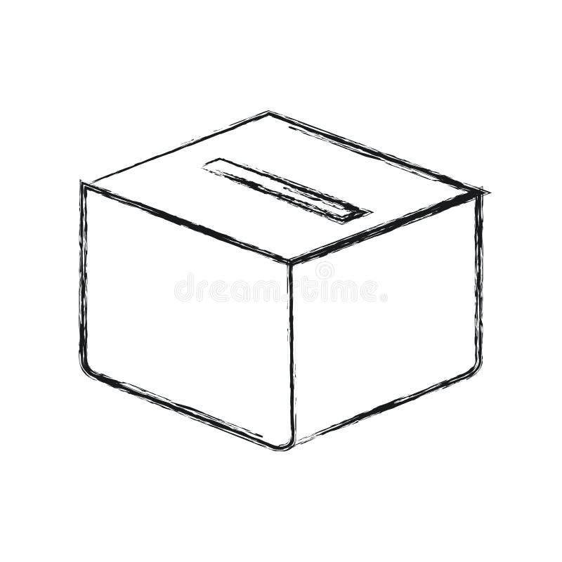 Caja borrosa del carboard de la silueta con la ranura ilustración del vector
