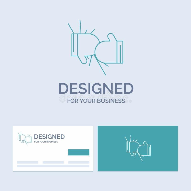Caja, boxeo, competencia, lucha, negocio Logo Line Icon Symbol de los guantes para su negocio Tarjetas de visita de la turquesa c ilustración del vector