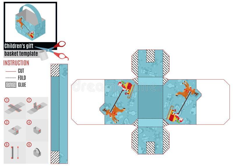 Caja brillante de papel con el trineo plano de Papá Noel Vector común de la imagen stock de ilustración