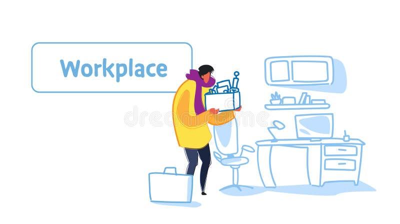 Caja casual de la tenencia del hombre de negocios con la oficina moderna de la nueva del trabajo del reclutamiento de la materia  ilustración del vector