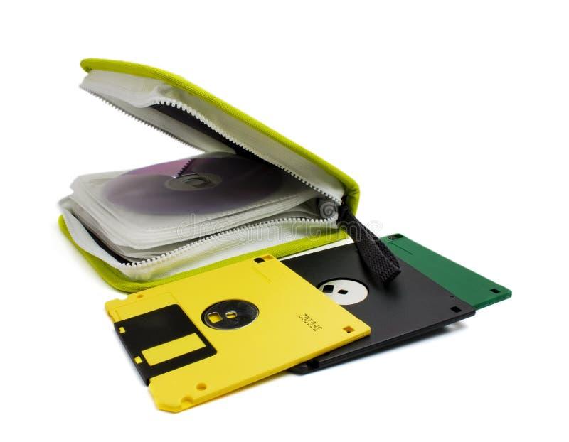 Caja CD y disco blando foto de archivo