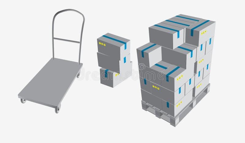 Caja cerrada, entrega de cajas con las muestras frágiles en la plataforma y la carretilla de madera del almacenamiento, aislada e libre illustration