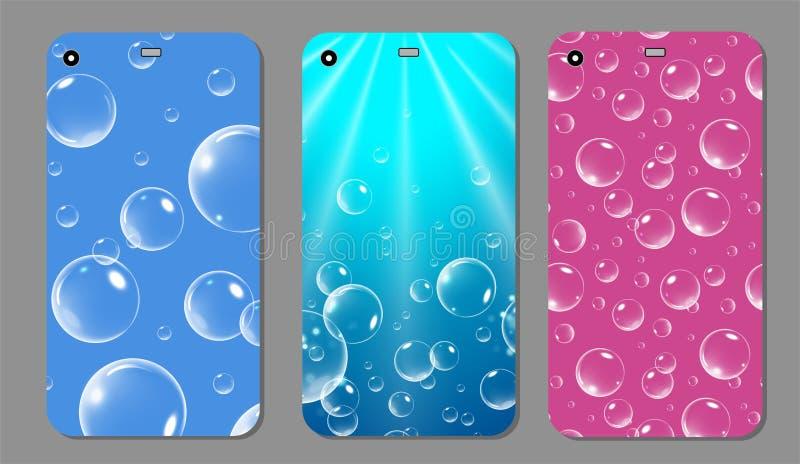 Caja chispeante púrpura del teléfono Smartphone azul y rosado de la cubierta de la plantilla con las burbujas Ilustración del vec libre illustration