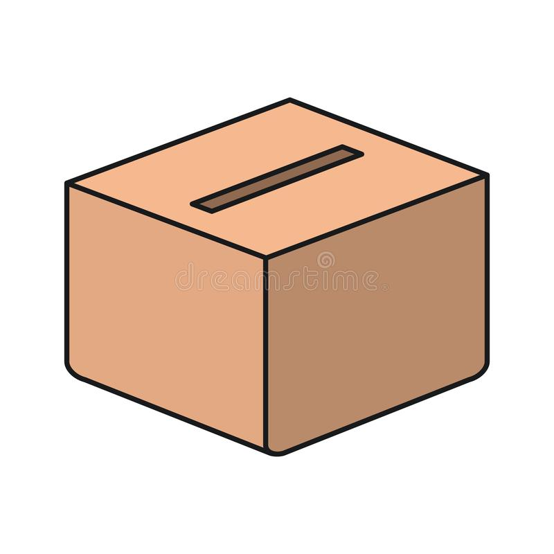Caja colorida del carboard de la silueta con la ranura libre illustration