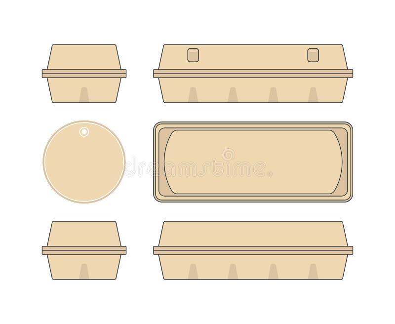 Caja común de la plantilla del vector para los huevos del pollo stock de ilustración