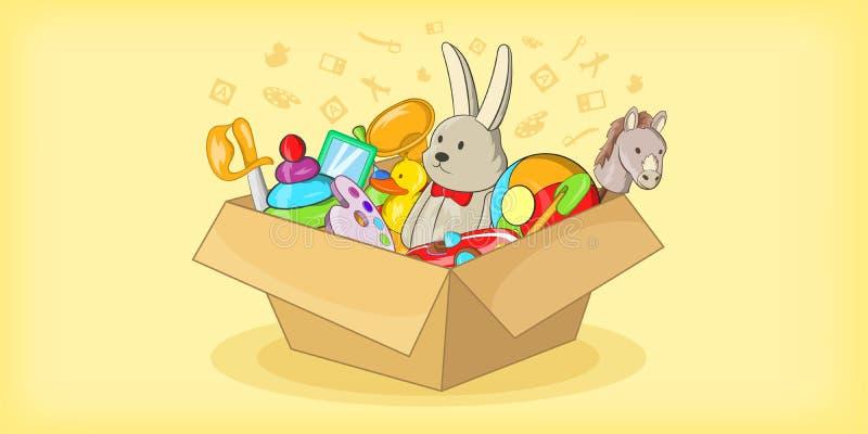 Caja con la bandera horizontal de los juguetes, estilo de la historieta libre illustration